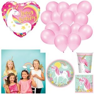 Unicorn Party Kit Plates Balloons Photo Props 16
